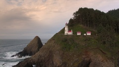 Aerial view of ocean and cliffs at Heceta Head Lighthouse Stock Footage