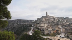 Matera Time lapse landscape churches and stones Stock Footage
