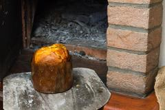 Panettone is a typical sweet of the Christmas tradition and widely distributed a Stock Photos