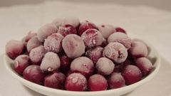 Fresh frozen cherries from the freezer Stock Footage