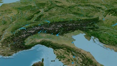 Revolution around Alps mountain range - masks. Satellite imagery Stock Footage