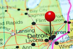 Detroit pinned on a map of Michigan, USA Stock Photos