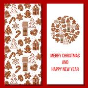 Christmas card. Cozy Xmas gingerbred greetings Stock Illustration