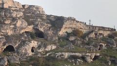 Matera Sassi, cavern cross Stock Footage
