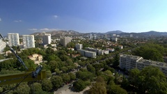 Marseilles suburban view from top of Le Corbusier Unite apartments Stock Footage