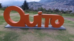 Over the Quito Text Landmark Stock Footage