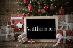 Nostalgic Christmas Tree, Snowflakes, Willkommen Means Welcome Kuvituskuvat