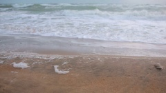 Big waves during a storm in the coast Stock Footage