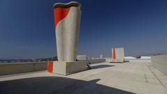 Unite de habitation, MaMo rooftop, Le Corbusier design, Marseilles Stock Footage