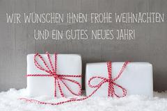 Two Gifts With Snow, Gutes Neues Means Happy New Year Stock Photos