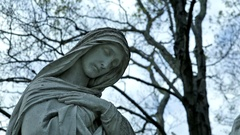 Christian Cemetery St Mary Statue Dolly In 01 HQ Stock Footage