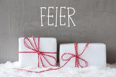 Two Gifts With Snow, Feier Means Celebration Stock Photos