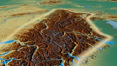 Glide over Alps mountain range - glowed. Relief map Stock Footage