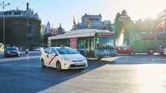 Traffic around the monument of Cibeles Stock Footage
