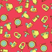 Child and baby cute seamless pattern Stock Illustration