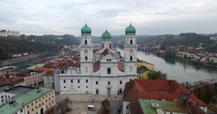 Drone move over St  Stephens Cathedral Passau 4k Stock Footage