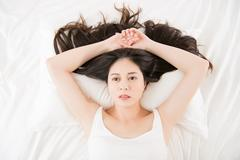 Beautiful asian woman feel unwell sickness and ill Stock Photos