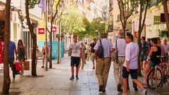 People in the pedestrian zone Stock Footage