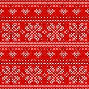 Red Holiday seamless pattern with cross stitch embroidered happy new year Stock Illustration