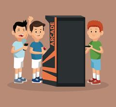 Friends video gaming arcade machine and smartphone Stock Illustration