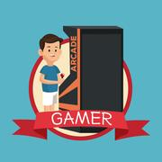 Gamer with vintage arcade machine video banner blue backgroung Stock Illustration