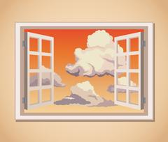 Window with sunset view clouds Stock Illustration