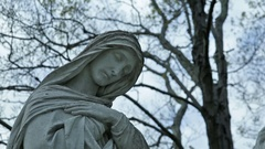 Christian Cemetery St Mary Statue Dolly In 01 MP4 Stock Footage