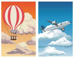 Set sunset sky airballoon-blue sky clouds plane Stock Illustration