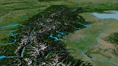 Glide over Alps mountain range - masks. Satellite imagery Stock Footage