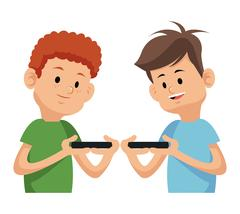 Two boy playing video game with moblie phone Piirros