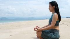 Zen on a beach Stock Footage