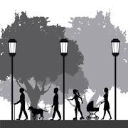 People silhouette walk lifestyle park lamppost Stock Illustration