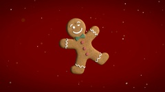 Motion graphics of gingerbread man Stock Footage
