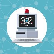 Computer laboratory alert technology discovery Stock Illustration