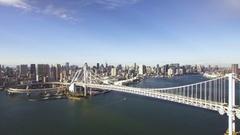 Tokyo Bay Rainbow Bridge Aerial forward movement  Stock Footage