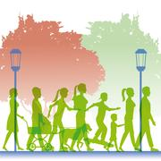 Silhouette green color people walking in street Stock Illustration