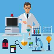 Medical scientist experiment laboratory working Piirros