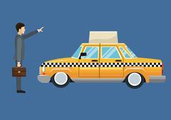 Cab car passenger user service public Stock Illustration