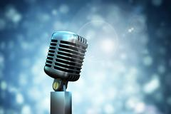 Composite image of digitally generated retro chrome microphone Stock Illustration