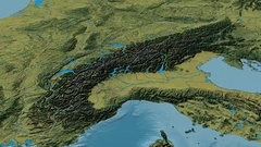 Zoom into Alps mountain range - glowed. Topographic map Stock Footage