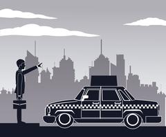 Cab car passenger user service public pictograh Stock Illustration