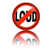 No Loud Sign 3D Rendering Stock Illustration