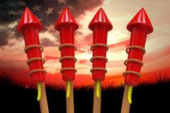 Composite image of rockets for fireworks Stock Illustration