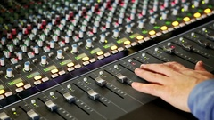 Closeup Musical Mixing Console Guy Hand Pushes Faders Stock Footage