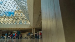 Louvre Museum Interior Time-lapse Stock Footage