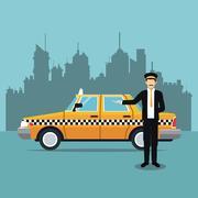 Cab car driver uniform service public Stock Illustration