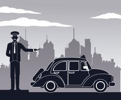 Antique cab car driver service public pictograh Stock Illustration