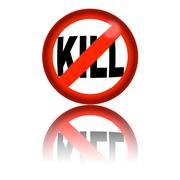 No Kill Sign 3D Rendering Stock Illustration