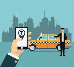 Driver taxi service online app city background Stock Illustration