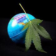 Medical marijuana concept with cannabis leaf and earth globe Kuvituskuvat